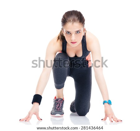 Runner sporty woman in start position isolated on a white background - stock photo