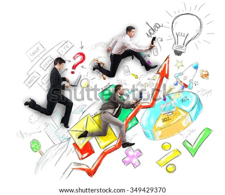 Runner to get to a work solution - stock photo