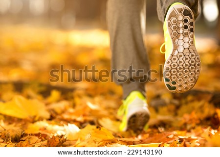 Runner woman feet running on autumn road closeup on shoe. Female fitness model outdoors fall jog workout on a road covered with fallen leaves. Sports healthy lifestyle concept.