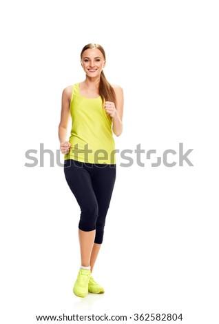 Runner woman full length - stock photo