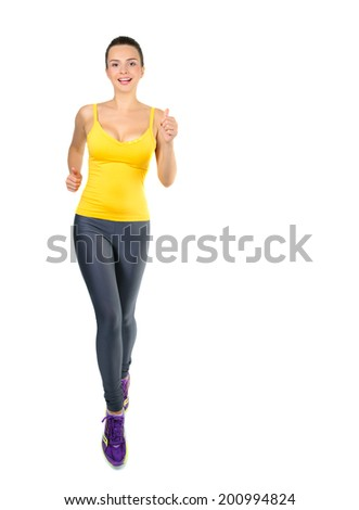 Runner woman isolated. Running fit fitness sport model jogging smiling happy isolated on white background. Beautiful Caucasian fitness girl training. - stock photo