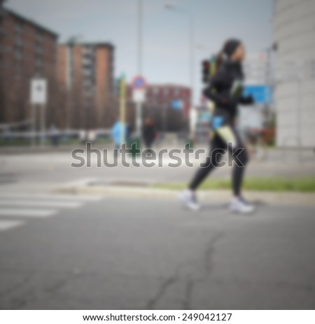 Runners profile. Intentionally blurred post production.
