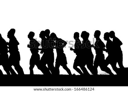 Runners silhouette - stock photo