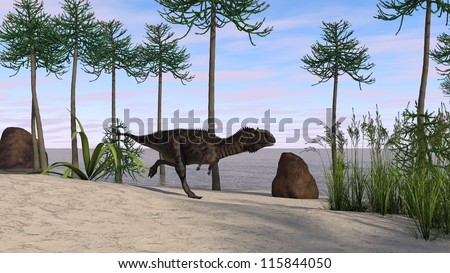 runnig cerantosaurus in araucaria tree grove