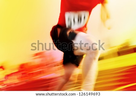 Running a race motion blur (number has been changed)