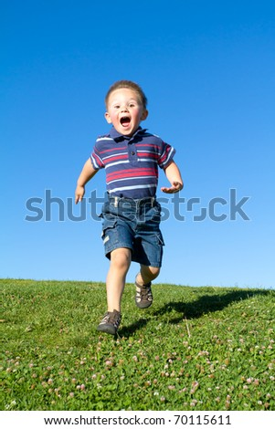 running and screaming boy