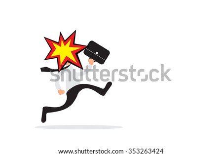 Running business man with head explosion as burnout concept - stock photo