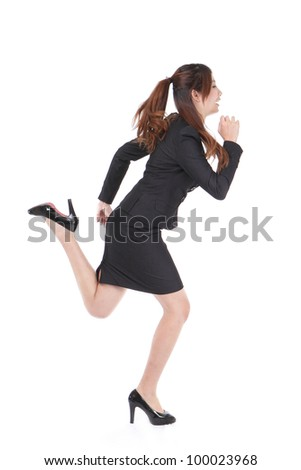 Running Business woman in full length isolated on white background, model is a asian beauty - stock photo
