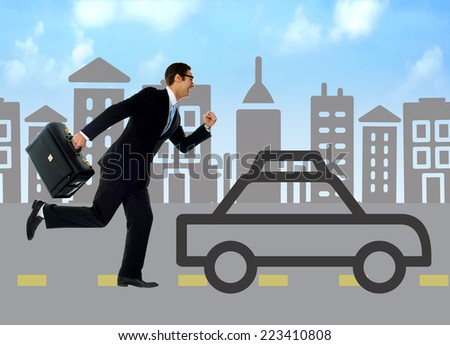 Running businessman against the silhouette city and car - stock photo