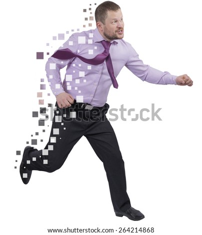 Running businessman in a hurry over white background isolated - stock photo