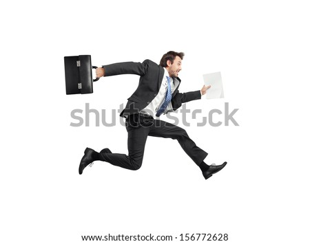 running businessman isolated on white - stock photo