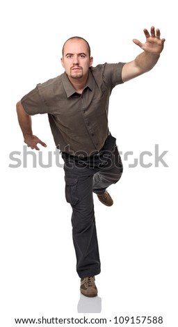 running caucasian man on white background - stock photo