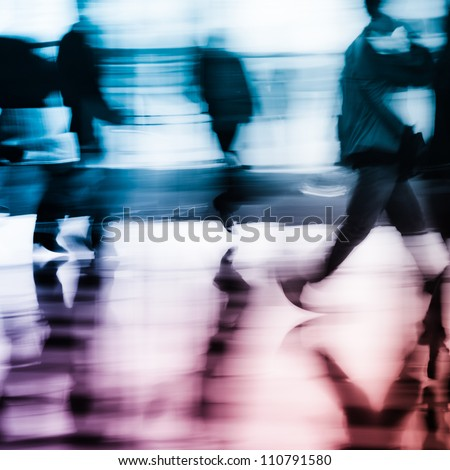 running city business people abstract background blur motion - stock photo