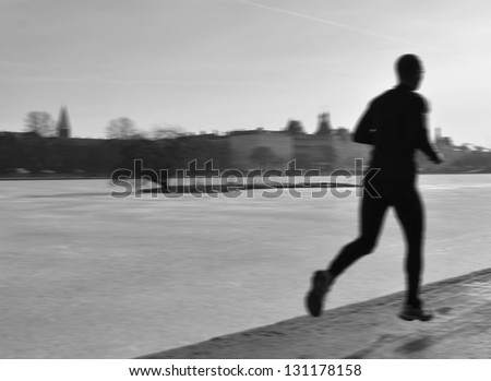 Running conceptual image - stock photo
