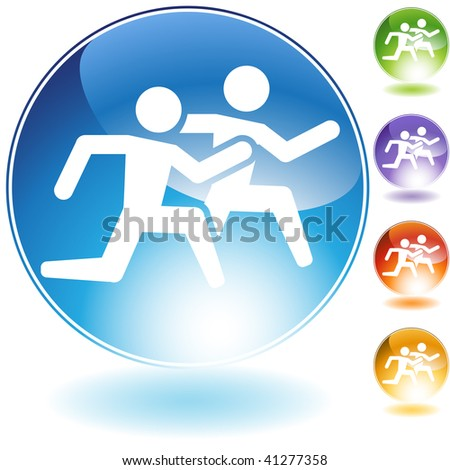 Running crystal icon isolated on a white background. - stock photo