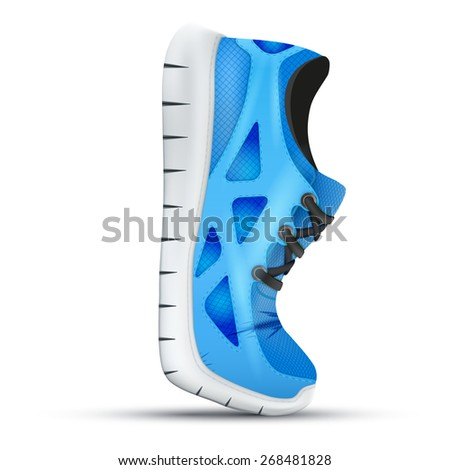 Running curved blue shoes. Bright Sport sneakers symbol. Illustration isolated on white background. - stock photo