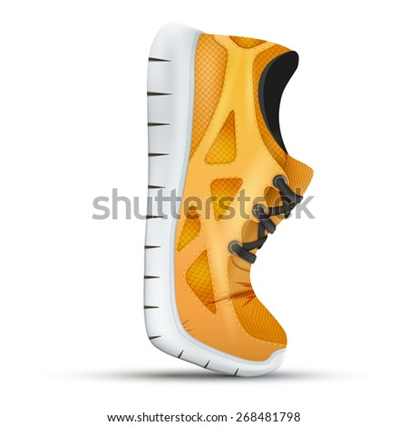Running curved orange sneakers. Bright Sport sneakers symbol. Illustration isolated on white background. - stock photo