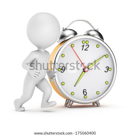 running 3d man and alarm clock isolated on white background. 3d render