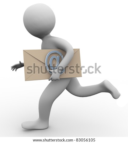 Running 3d man carrying email envelope in his hand - stock photo