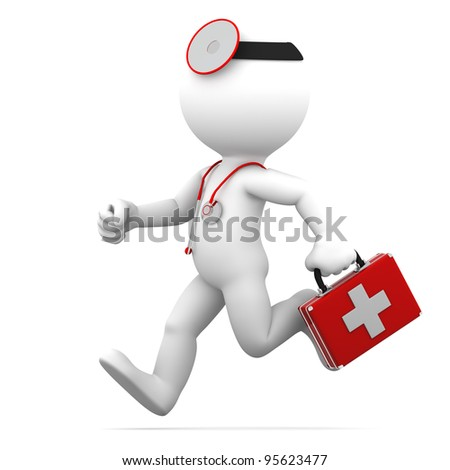 Running Doctor. Isolated on white background - stock photo