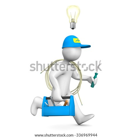 Running electrician cartoon character with bulb  and tool box on the white. - stock photo