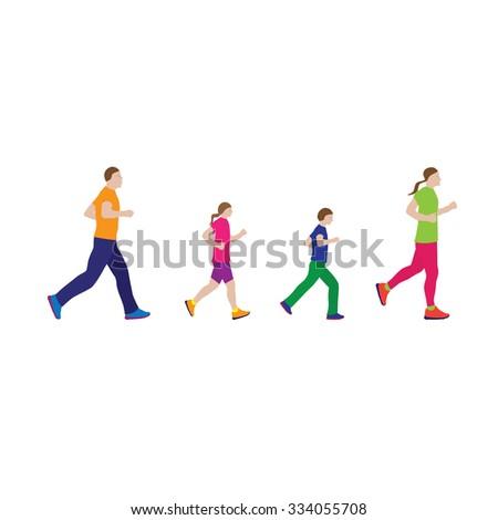 Running family. Active family. Family sports.  - stock photo