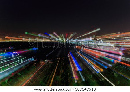 running focus Pattaya cityscape at twilight time, Blurred Photo bokeh and Abstract blur pattaya city background on twilight times   - stock photo