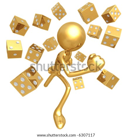 Running From Golden Dice - stock photo