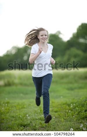 Running girl - stock photo