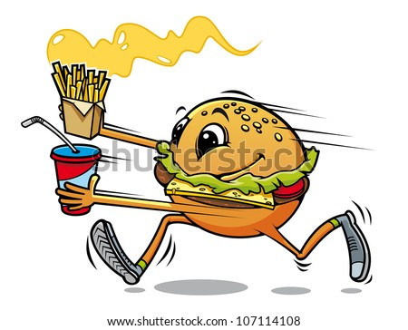 Running hamburger with fresh drink and fried potato for fast food design, such logo. Vector version also available in gallery - stock photo