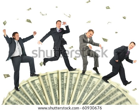 running happy business people on dollar wheel collage - stock photo