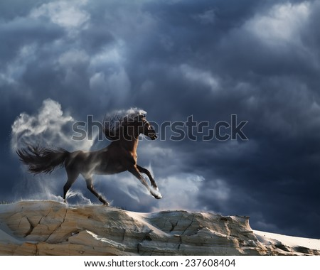 running horse with stormy clouds - stock photo