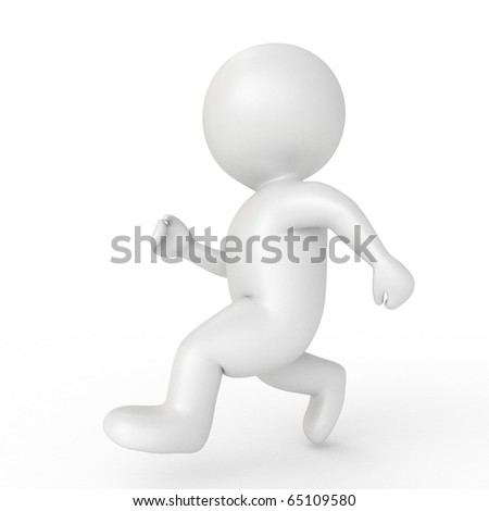 running human - from my 3d human collection - stock photo