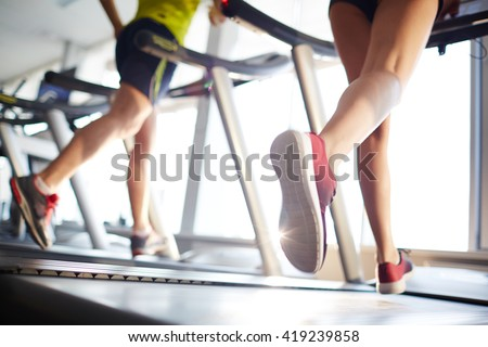 Running in gym - stock photo