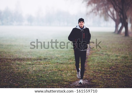 Running in winter. Healthy lifestyle concept