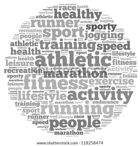 Running info-text graphics and arrangement concept on white background (word cloud)