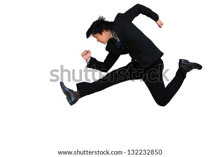 Running & Jumping businessman isolated on white background - stock photo