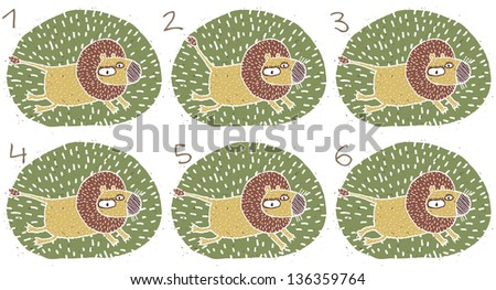 Running Lion Visual Game for children. Task: Find two identical images (match the pair)! Answer: No. 3 and 4. (for vector see image 114705115) - stock photo