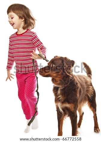 running little girl and dog
