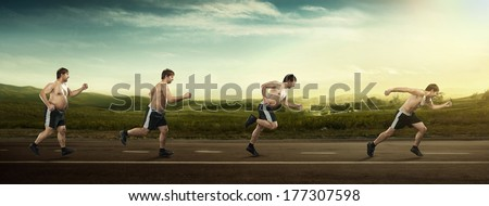 Running man at first full in the end of thin on road. Concept weight loss, exercise - stock photo