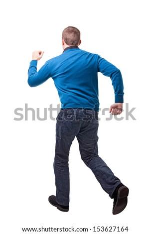 running man back view on white - stock photo