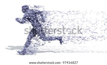 Running Man from blocks - stock photo