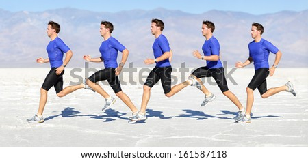 Running man - runner in speed showing sprinting motion. Male sport athlete sprinter composite in beautiful nature landscape. Fit fitness model in fast sprint run in desert outdoor. - stock photo