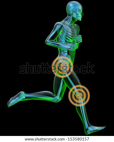Running man seen by x-ray with pain in the leg. Radiograph of a human body in the act of running with knee and ankle pain
