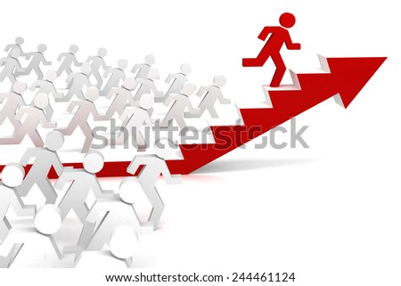 running men competition 3d with red arrow stairs