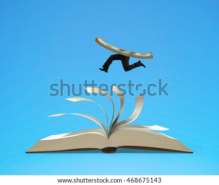 Running money on top of flipping pages of open book isolated in blue background, 3D rendering