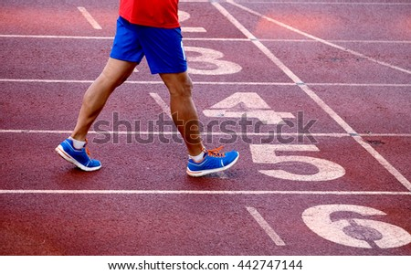 running on athletics track