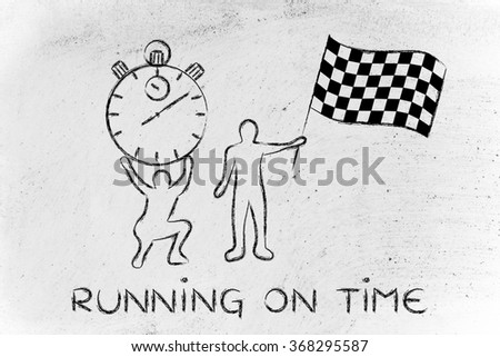 running on time: men with oversized stopwatch and chekered flag