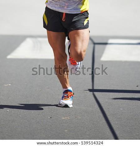 Running ona a marathon - stock photo