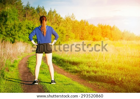 running outdoors - stock photo